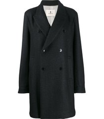 barena double breasted coat - black