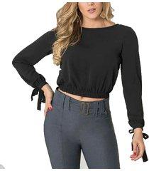 blusa mariane negro para mujer croydon