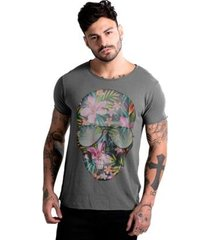 camiseta estonada corte à fio joss caveira flores masculina
