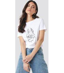 na-kd trend hand drawn t-shirt - white