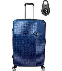 mala de bordo padrão anac em abs - santino - 19 polegadas com localizador bluetooth reaggio - azul marinho