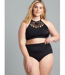 lane bryant women's mid-waist swim brief 28 black