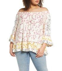 plus size women's single thread print off the shoulder print top