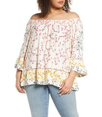 plus size women's single thread print off the shoulder print top