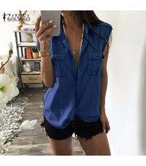 zanzea solapa mujeres tapas de la camisa botones en dril de algodón azul tapas del tanque ocasionales de la blusa del tamaño extra grande -azul oscuro