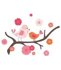 adesivo de parede passarinhos skip hop rosa