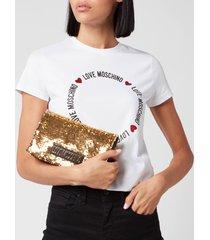 love moschino women's sequin shoulder bag - gold