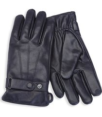 royce new york men's cashmere lined touchscreen leather gloves - black - size m