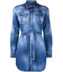 dsquared2 distressed belted denim shirt - blue