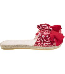 bandana flat sandals with bow red