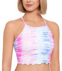 salt + cove juniors' lace-up-back high-neck swim top, created for macy's women's swimsuit