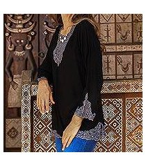 rayon tunic, 'kayangan in black' (indonesia)