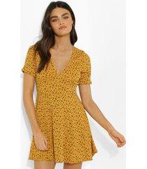 geribbelde bloemenprint skater jurk met ceintuur, mustard