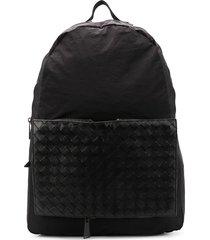 bottega veneta removable intrecciato pouch backpack - black