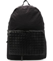 bottega veneta removable woven pocket backpack - black