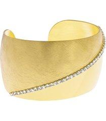bracciale bangle big in bronzo lucido/satinato dorato e cristalli per donna