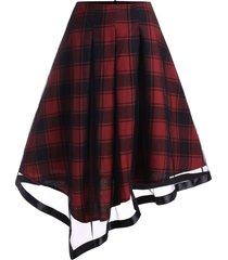 plus size asymmetric mesh insert plaid skirt