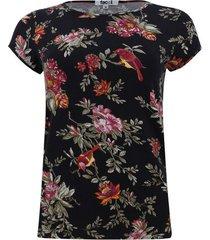 camiseta con estampado floral manga corta color negro, talla s