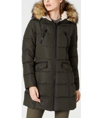 nautica hooded faux-fur-trim puffer coat