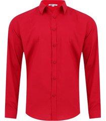 camisa unicolor sin bolsillo color rojo, talla xs