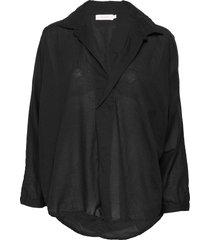 cotton placket shirt blouse lange mouwen zwart rabens sal r