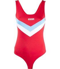 levi's panelled logo bodysuit - red