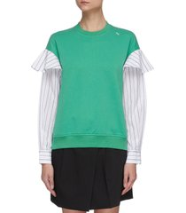 frilled stripe sleeve sweatshirt
