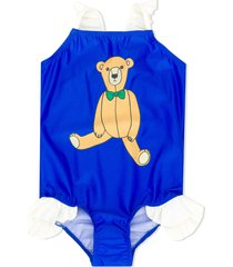 mini rodini teddy-print frilled swimsuit - blue