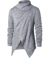 asymmetric button long sleeve cardigan
