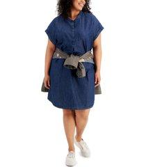 style & co chambray mandarin collar shift dress, created for macy's