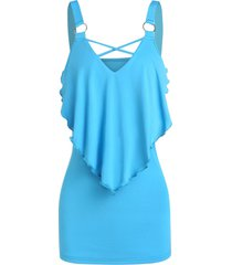 pointed flounce o-ring tank top