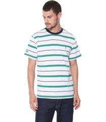 camiseta aleatory listrada branca/verde - branco - masculino - algodã£o - dafiti