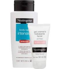 kit: 1 gel creme hidratante facial neutrogena oil free para pele mista a oleosa 50ml + hidratante corporal neutrogena body care intensive extra care 2