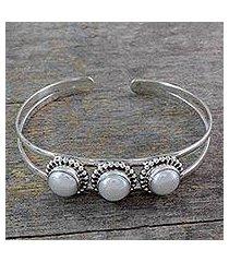 pearl cuff bracelet, 'moonlight trio' (india)