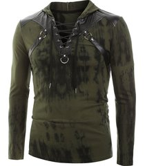 tie dye print lace-up faux leather insert hoodie