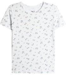 camiseta mujer flores blancas color blanco, talla l
