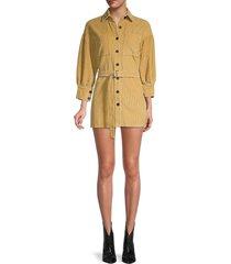 70/21 women's belted corduroy shirt dress - khaki - size m