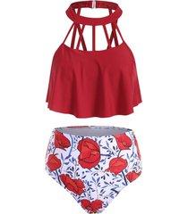 floral print cutout overlay tankini swimwear