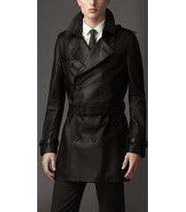 men's black leather jacket original lambskin soft leather long luxury trench coa