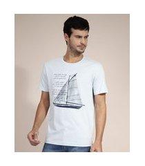 camiseta de algodão veleiro manga curta gola careca azul claro