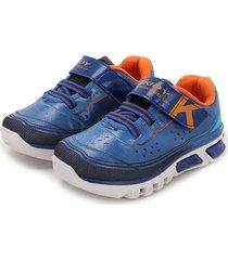 tenis azul-naranja kidy calcados light fun