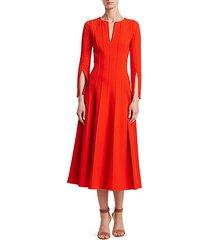 long-sleeve plissé a-line dress