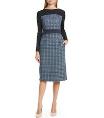 women's boss danopus long sleeve tweed sheath dress