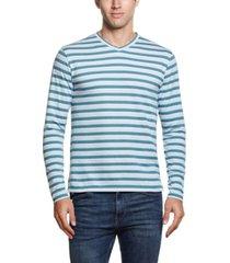 men's jacquard stripe long sleeve v-neck shirt