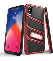 estuche protector zizo bolt x iphone x/xs - negro/rojo