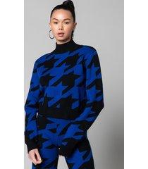akira shh houndstooth long sleeve knit sweater