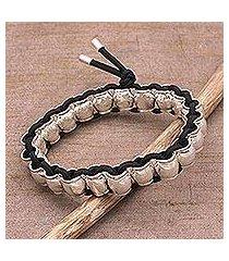 sterling silver beaded stretch bracelet, 'emperor's vases' (indonesia)