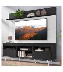 """rack com painel tv 65"""" madri multimóveis preto/branco com prateleira e pés retrô branco"""