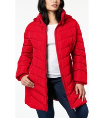 tommy hilfiger plus size faux-fur-trim hooded puffer coat, created for macy's