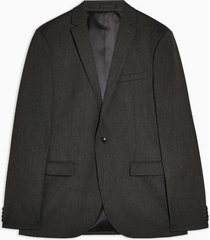 mens charcoal grey super skinny fit single breasted suit blazer with notch lapels